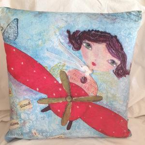Polly Pilot velvet cushion