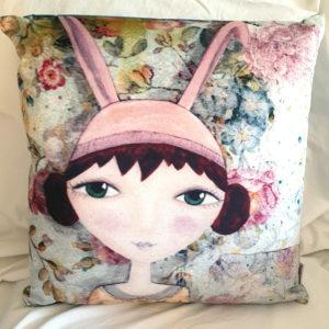 Polly Rabbit Velvet Cushion